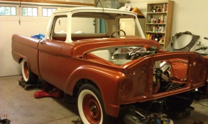 66 custom F100 Front lowered 3 inches with drop I beams
