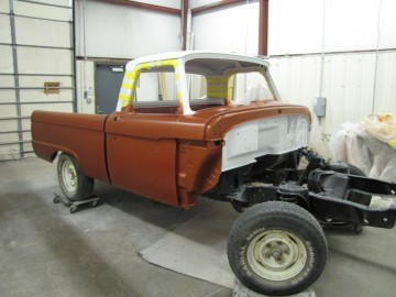 66 custom F100 Bed and Cab after being painted