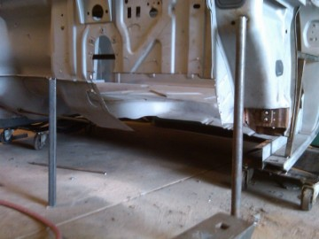 Front view of floor board cut out