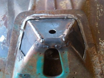 Cab mount inner layer welded in