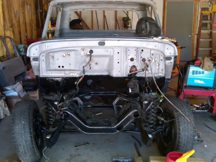 Cab mounted on finished frame