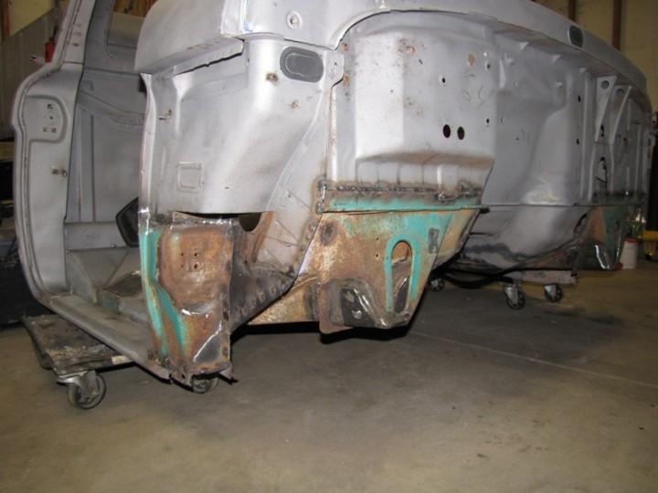 Front view of pass side floor welded in