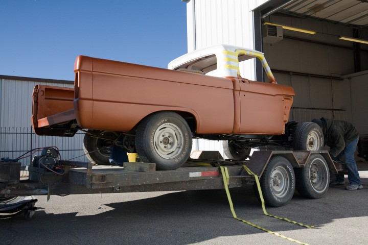 loading up a 66 custom F100 truck
